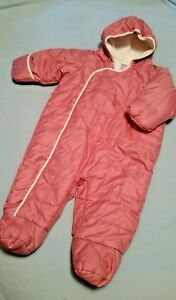 941bc6650 Baby Gap Girls Quilted Bunting Snowsuit Pink Fleece Lined size 6-12 ...