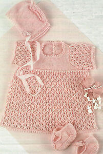 mitts bootees Baby lace cape Vintage Knitting pattern bonnets