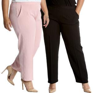 75b6fc8cdcb Details about New Womens Plus Size Trousers Ladies Pants Self Stripe  Pockets Formal Sale Long