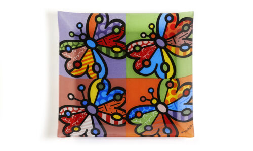 """ROMERO BRITTO PAINTED GLASS SERVING PLATE /""""BUTTERFLY  DESIGN /""""12in X 12 in"""