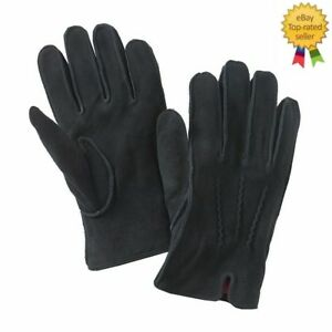 NEW-Dockers-Mens-Gloves-Leather-Sueded-DeerSkin-Knit-Lining-Black-size-L