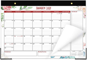 """Monthly Desk Pad Calendar 12/"""" X 17/"""" White 2021 Year Office Style Wall Simple NEW"""