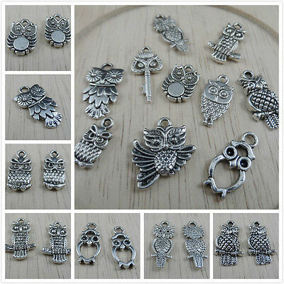 FREE 30Pcs Mixed Tibetan Silver Owl Charms Pendant For Jewelry Making Craft