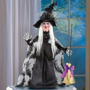 HALLOWEEN-WITCH-TABLETOP-FIGURE-DECORATION-PLASTIC-POLYESTER-28-034-H-NEW