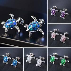 Cute-Women-925-Silver-Turtle-Fire-Opal-Stone-Ear-Studs-Earrings-Jewelry-Gift