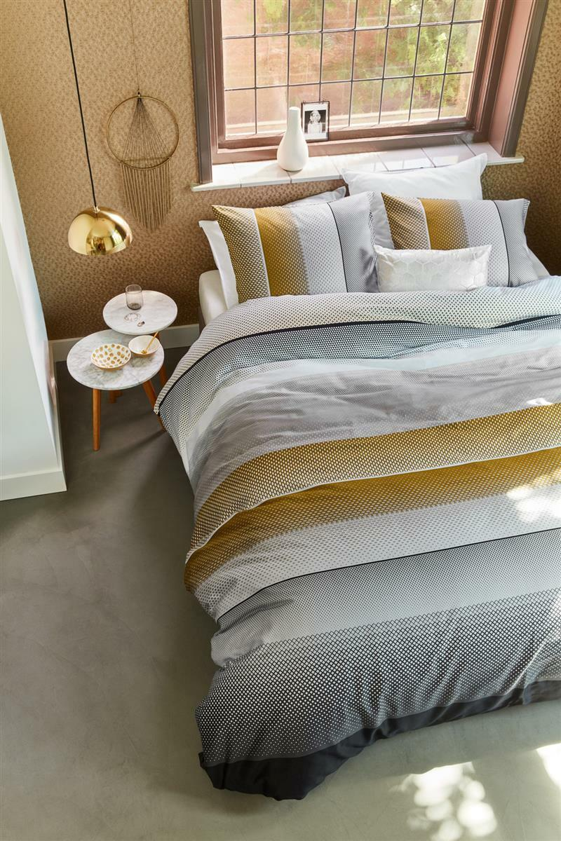 Beddinghouse Mako Satin Bettwäsche 3 tlg 200x200 80x80 Gold 170928 Senn grau