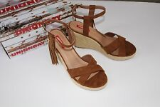 Unionbay Beige Brown Wedge Size 9.5 Shoes Women's Sandals Fringe Tea Indian NIB