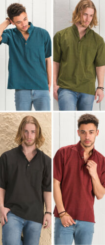 Men/'s Plain Cotton Loose Fit Short Sleeve Kurta GRANDAD SHIRT Hippy XL Boho