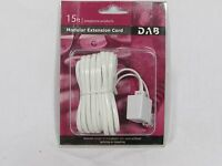 Phone Line Coupling 15 Ft Phone Telephone Extension Cord Cable White Female