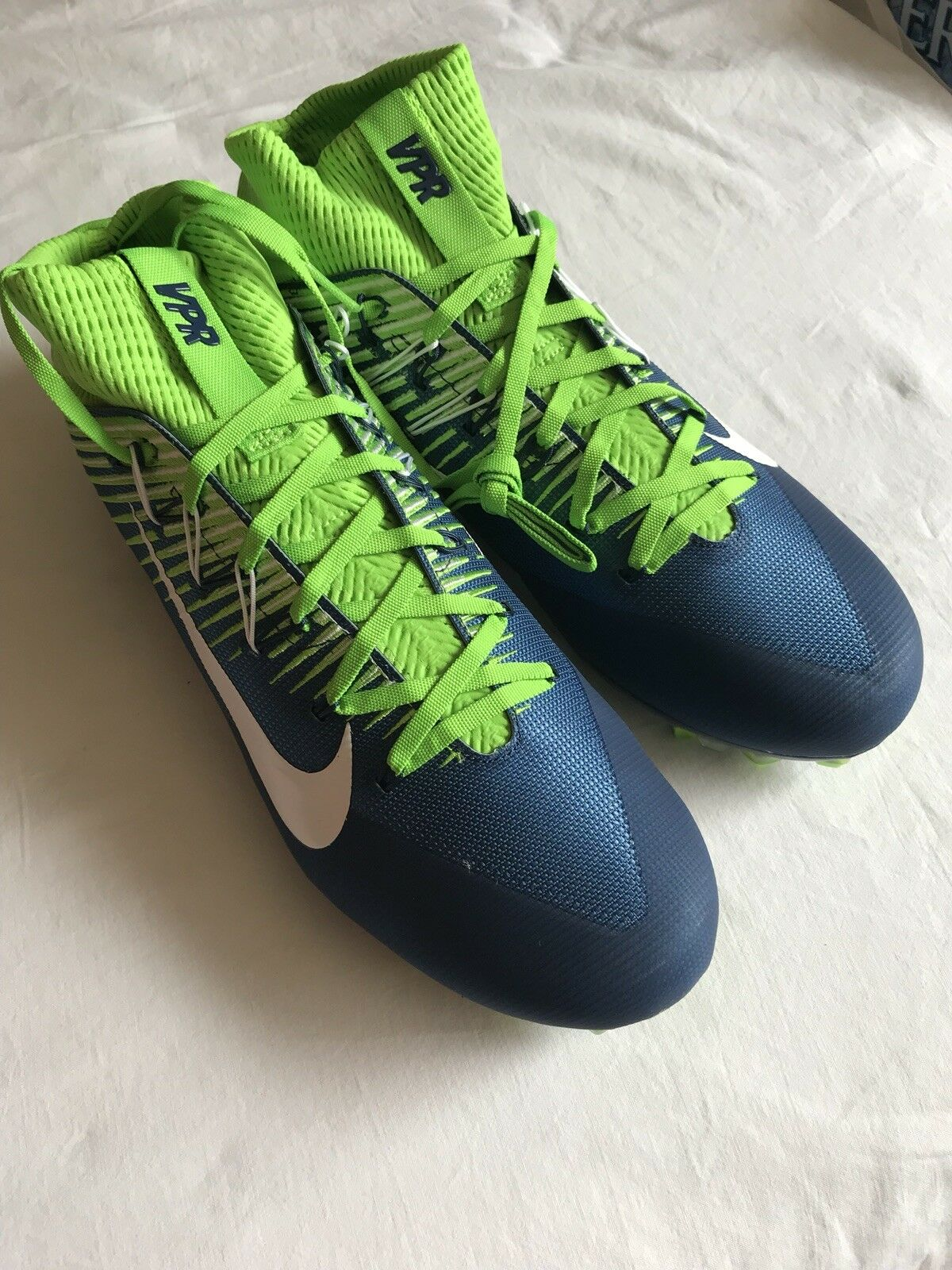 100a629ac NIKE VAPOR UNTOUCHABLE 2 FOOTBALL CLEATS SIZE 12.5 Navy Actn Green White