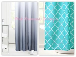 Image Is Loading Grey Ombre OR Turquoise Trellis Print Shower Curtain
