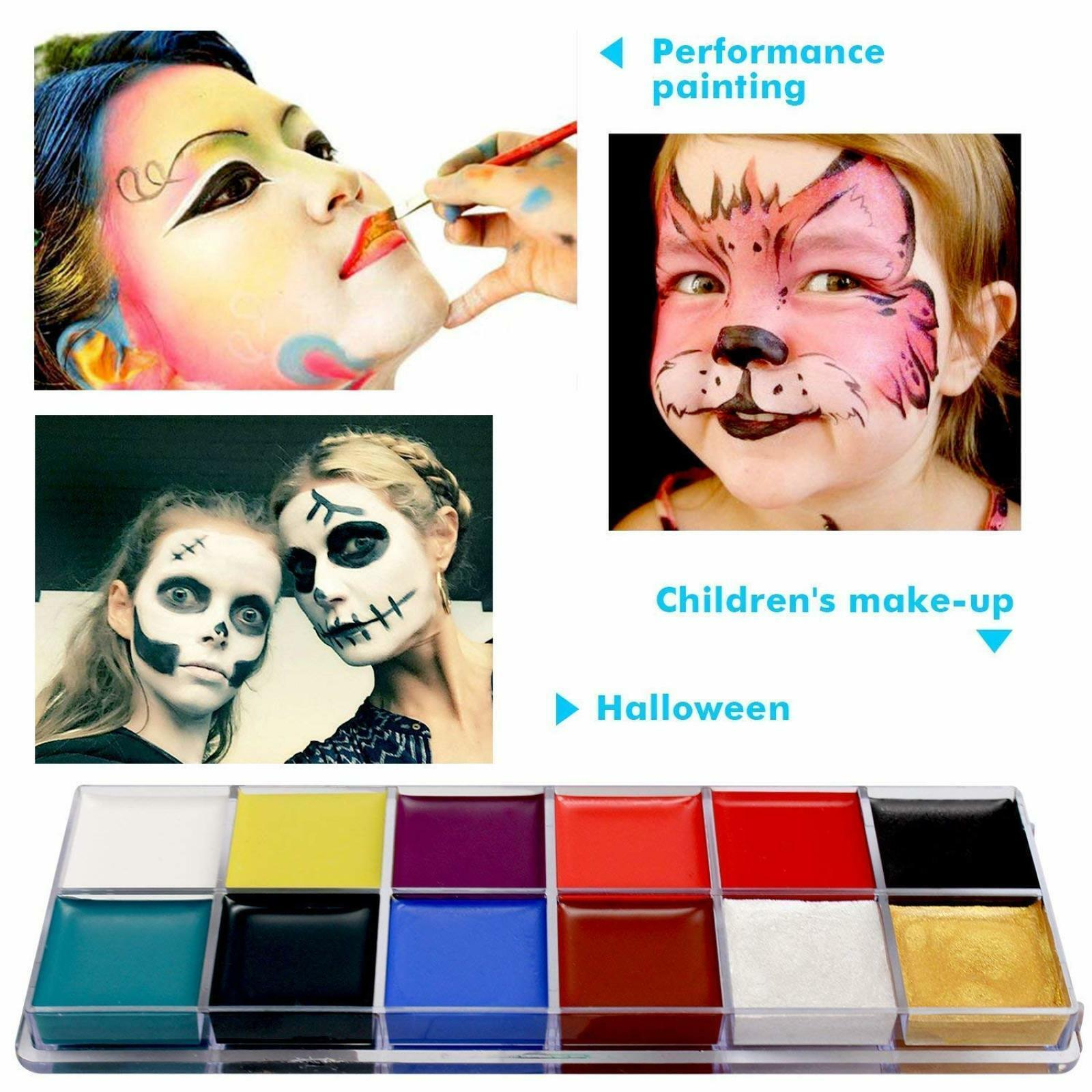 Professional Face Paint Washable Body Tattoo Makeup Painting Palette Non-Toxic