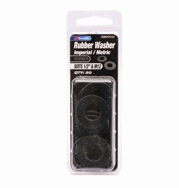 "Zenith RUBBER WASHER Imperial Metric Bolt External Black- 1/2"" M12 20pcs EBM7012"
