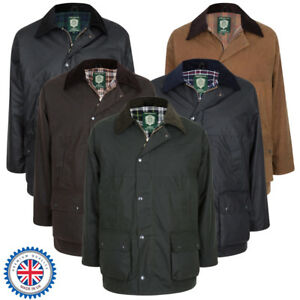 Portmann-Mens-Unpadded-Lightweight-Wax-Cotton-Jacket-Coat-amp-Hood-Sizes-XS-to-6XL