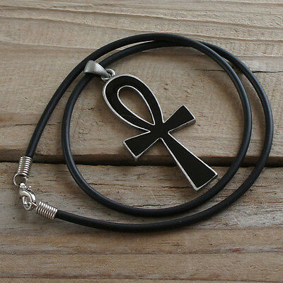 Black White in one Ankh Key Cross of life Egyptian Pagan Wicca Pewter Pendant
