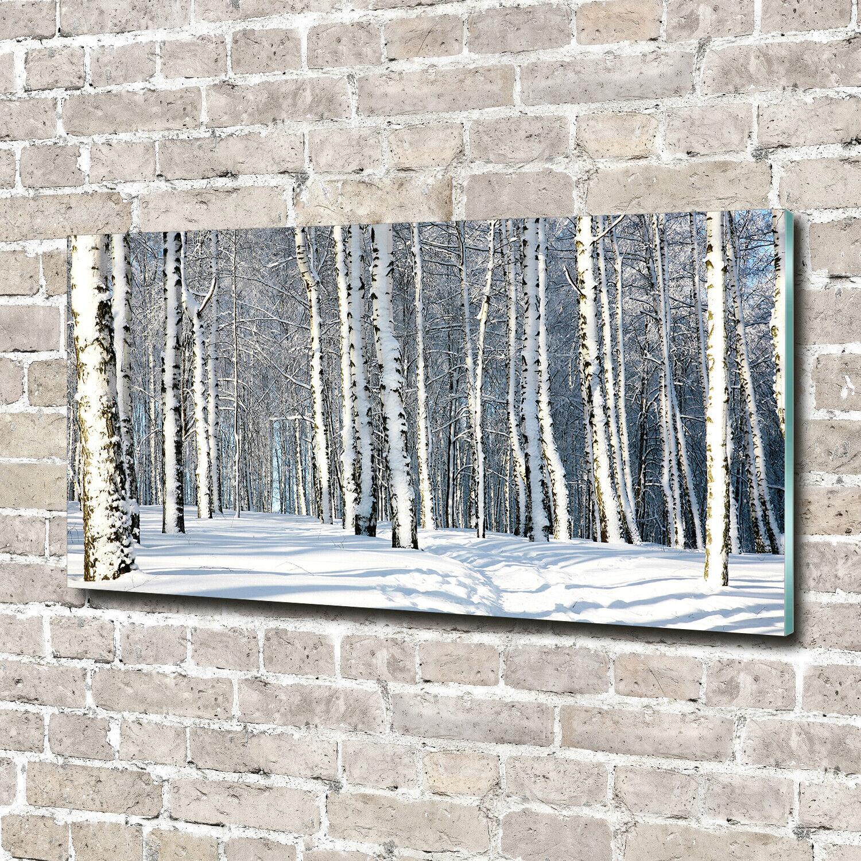 Wandbild aus Plexiglas® Druck auf Acryl 140x70 Blaumen & Pflanzen Winterwald