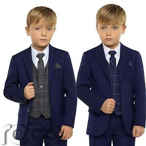 32027d3707c3 Image is loading Boys-Blue-Suit-Boys-Check-Waistcoat-Page-Boy-