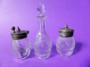 Rare-Antique-Silver-Plated-Victorian-Glass-Salt-Cellar-Pepper-Shaker-amp-Bottle