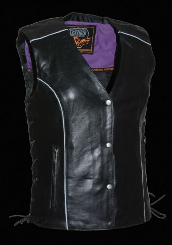 MLL4505 Milwaukee Leather Women/'s Side Lace Vest W// Stud /& Wings Detailing