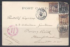 EGYPT-FRANCE-1901-FRENCH-OFFICES-IN-PORT-SAID-POST-CARD-FRANKED-1-2-4-5c-france