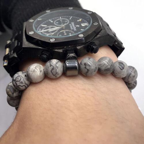 Fashion Hommes Bracelet 8 mm pierre naturelle Lave Oeil de Tigre Pierre Amitié Bracelet