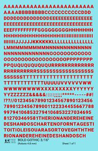 K4 HO Decals Red 3//16 Inch Modern Speed Letter Letter Number Alphabet Set