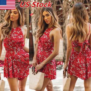Women-Fashion-Holiday-Summer-Mini-Jumpsuit-Playsuit-Romper-Beach-Shorts-Dress-US