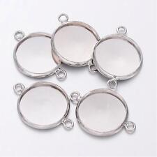 10 x vassoio d'argento Cabochon Ciondolo impostazioni Connettore 14mm PER Cameo Cupola di vetro