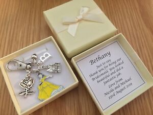 charm WEDDING gift BEAUTY AND THE BEAST KEYRING PERSONALISED BRIDESMAID