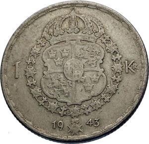 1943-Sweden-GUSTAF-V-Silver-Krona-Crowned-ARMS-Antique-Vintage-Coin-i71964