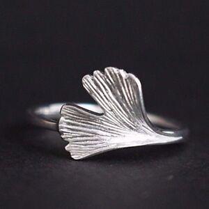 Damenring-Ginkgoblatt-Ginkgo-Ring-925-Sterling-Silber-Ginko-Blatt-Ring-Biloba