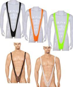 Mens Stretch Bodysuit V Sling Mankini Thong Underwear Lingerie Wrestling Singlet