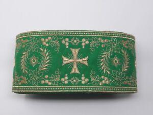 Orphrey-Vintage-Cruz-Oro-Cojos-Encendido-Verde-Vestment-Banda-11-4cm-Ancho-12-8m