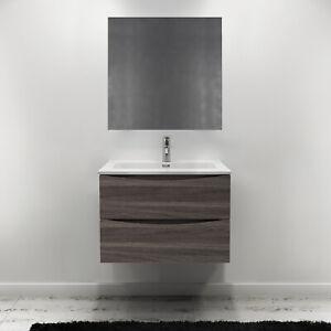 Mobiletto bagno sospeso da 80 cm con 2 cassetti rovere scuro lavabo ...