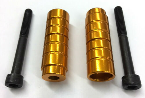 PAIR 12.9 GOLD STUNT SCOOTER PEGS WITH HARDENED STEEL AXLE BOLTS