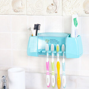 Image Is Loading Fashion Bathroom Toothbrush Toothpaste Wall Holder Plastic Storage