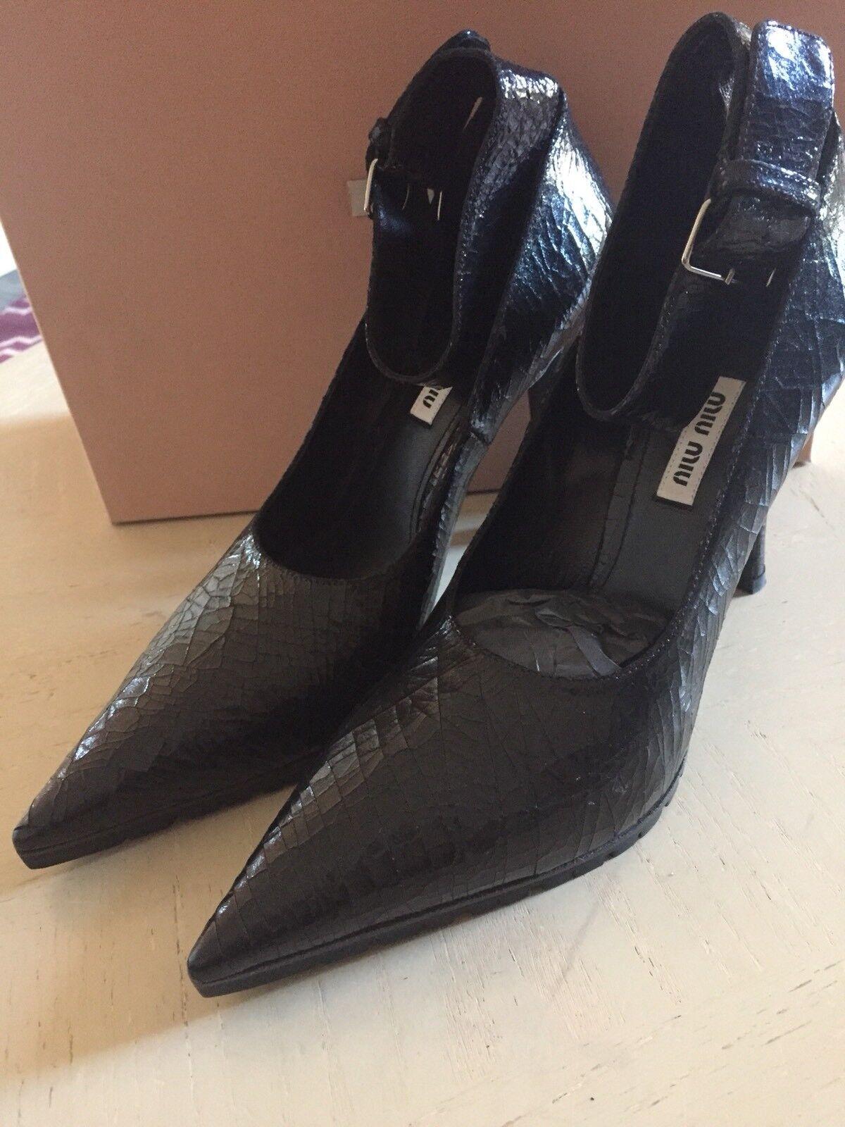 NIB Miu Miu Women's Prada Women's Miu Calzature Cracle Classic Pumps Black 39 Italy $730 ee68f6