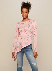 Floral 10 Selfridge New Miss Blouse Pink Asymmetric Size £35 Top UaHEq4xw