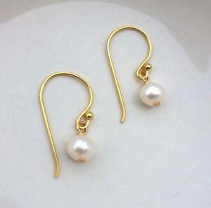 Image Is Loading Designer 24k Gold Tiny Freshwater Pearl Earrings Over