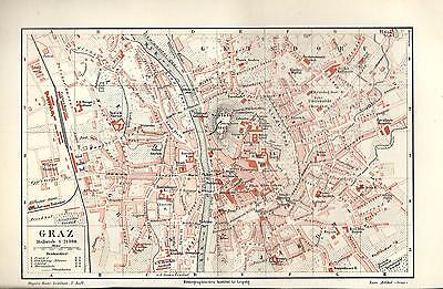 1895 Graz alte Landkarte Stadtplan Karte antique city map Lithographie