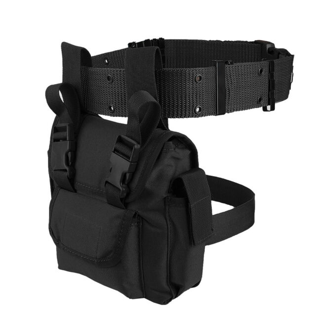 Outdoor Tactical Drop Leg Thigh Bag Waist Belt Utility Mens Pack Bag Pouch Black