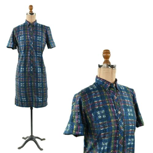 Vintage 50s Combed Cotton Blue Abstract Plaid Nove
