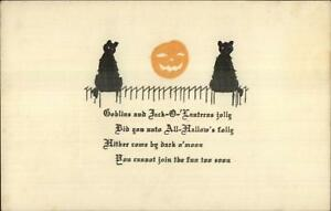 Halloween-Black-Cats-JOL-amp-Poem-No-Publisher-c1910-Postcard-EXC-COND