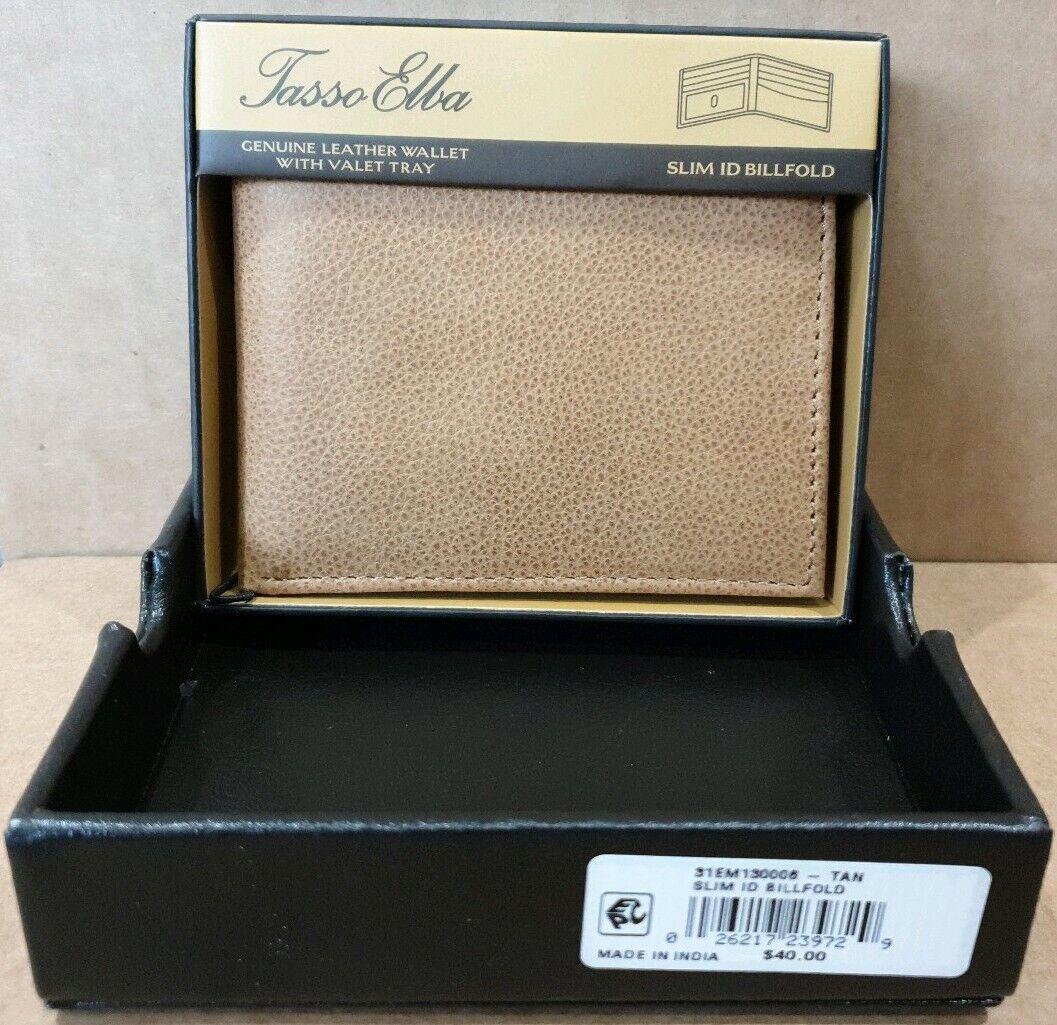 Tasso Elba Slim Leather ID Bifold Wallet, Tan rrp Macy's usa
