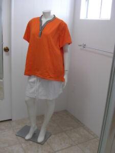 Tommy Hilfiger Womens 2XL Polo Shirt Orange Front Button S/S Flag Stretch Cotton