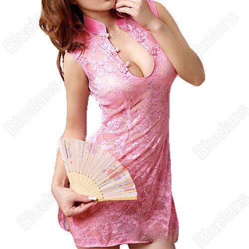 Sexy Cheongsam Lace Transparent Dress Lingerie Underwear Sleepwear+G-String Pink