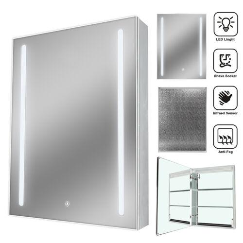 Bathroom Led Mirror Cabinet With Ir Sensor Demister Shaver Socket Wall Moun IP44