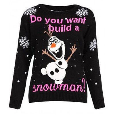 WOMEN LADIES CHRISTMAS NOVELTY OLAF FROZEN RETRO JUMPER WINTER XMAS SWEATER