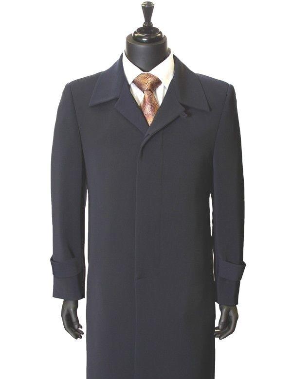 Herren New All Weather Navy Microfiber Gaberdine Trendy Classic Trench Top Coat