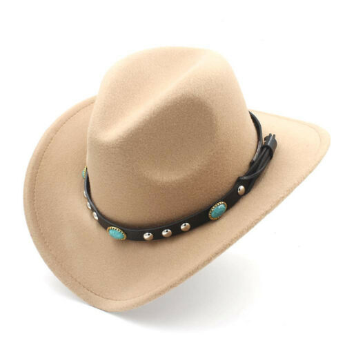 Unisex Western Style Wide Brim Hollow Cowboy Hat Turquoise Accessory Cowgirl Cap